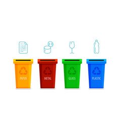 recycling bins sorting garbage infographic vector image