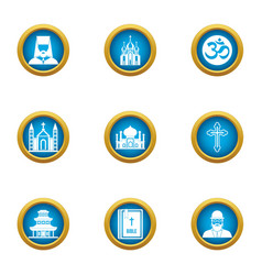 religious peace icons set flat style vector image