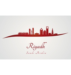 Riyadh skyline in red vector image