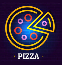 Round pizza logo flat style vector