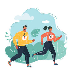 running people in park vector image