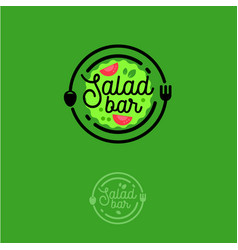 Salad bar logo vegetarian vector