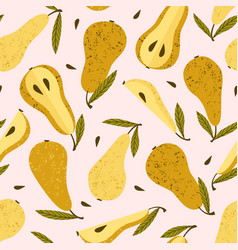 seamless pattern with pears trendy hand vector image