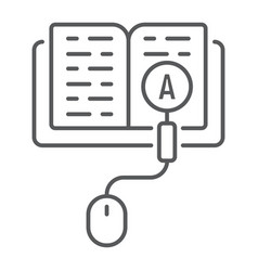 Search knowledge thin line icon e learning vector