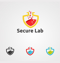 Secure lab logo icon element and template for vector