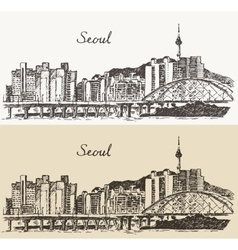 Seoul Special City South Korea vintage sketch vector image