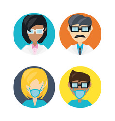 Set doctor with glasses and mask vector