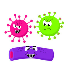 set of angry funny bacterias germs in cartoon vector image