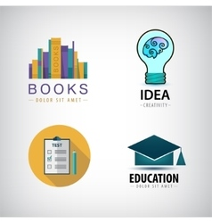 set of education logos books test square vector image
