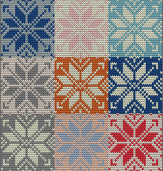 Set of nine nordic knitted seamless pattern eps vector