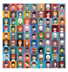Set of people icons in flat style with faces 22 b vector image