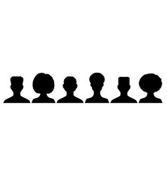 Silhouettes avatars guys and girls set young vector