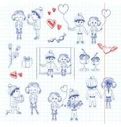 Sketch Set of a Boy and Girl Inlove vector image
