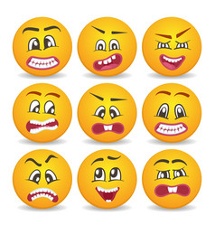 Smiley faces with different facial expressions set vector