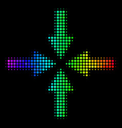 Spectral colored pixel collide arrows icon vector