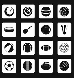 sport balls icons set squares vector image