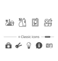 Spray window cleaning and maid equipment icons vector
