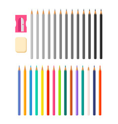 stationery with icons various pencils vector image