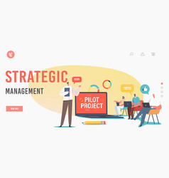 Strategic management landing page template vector