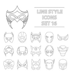 Superhero mask set icons in outline style big vector