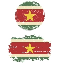 Surinamese round and square grunge flags vector image