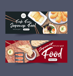Sushi set for banners creative watercolor vector
