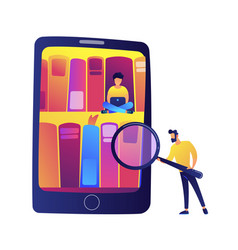 tablet with bookshelves and students using e vector image