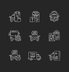 taxi service chalk white icons set on black vector image