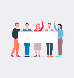 teamwork group people hold empty horizontal vector image