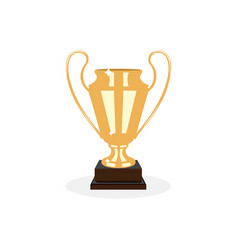 Trophy gold cup flat desing on a white background vector
