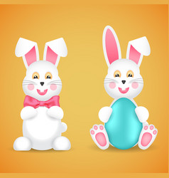 two funny easter bunnies with a bow and egg vector image