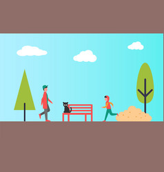 urban park and people jogging and walking outdoors vector image