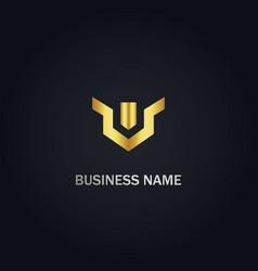 V abstract shape company logo vector