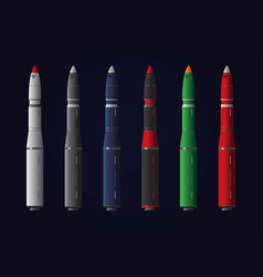 Various missiles on dark background vector