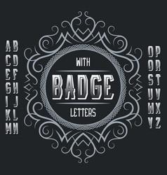 vintage label template in patterned frame vector image
