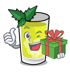 With gift mint julep mascot cartoon vector