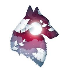 wolf origami cartoon night landscape vector image