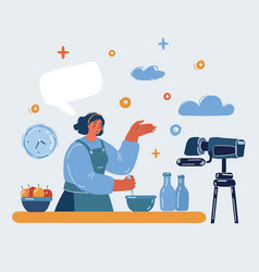 Woman is cooking vector