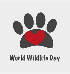 world wildlife day card banner vector image