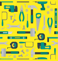 cartoon hand tools background pattern on a yellow vector image