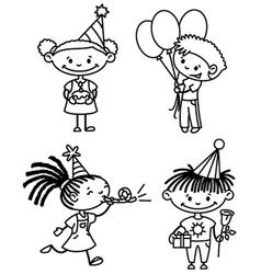 Children birthday set vector image vector image