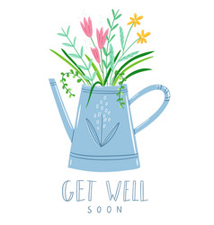 get well soon floral card vector image vector image