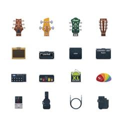 guitar equipment icon set vector image