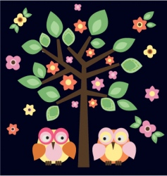tree owls in love vector image