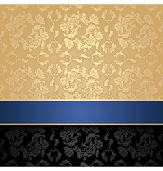 floral decorative seamless background blue ribbon vector image vector image