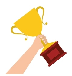hand holding trophy cup icon vector image