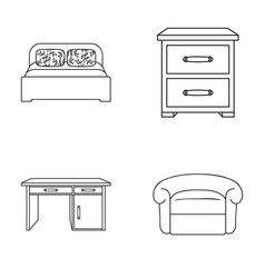 interior design bed bedroom furniture and home vector image