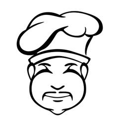 Japanese cook outline monochrome portrait vector image vector image