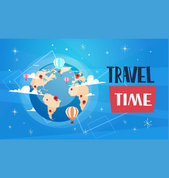 travel poster with worlds globe on blue background vector image