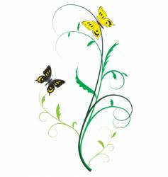 two butterflies on the plants vector image